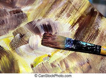 Paintbrush and beautiful painting of flowers