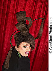 Coy Drag Queen - Coy Caucasian drag queen with ponytails in...