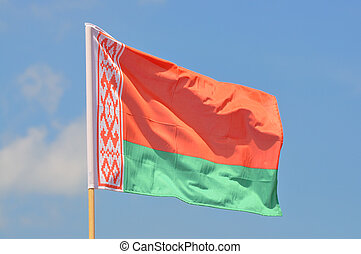 Flag of Belarus against blue sky