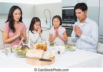 família, Quatro, dizendo, graça, antes de,...