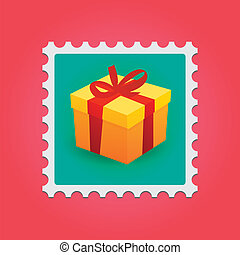 Post stamp - Isolated post stamp in colored background
