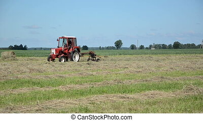 tractor ted hay field - tractor heavy machine equipment ted...