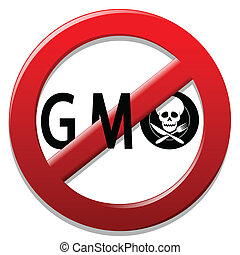 Stop GMO - Illustration of a sign for a ban on genetically...