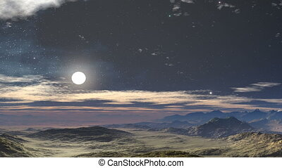 Moonlit night in the desert - Rocky desert reflects bright...