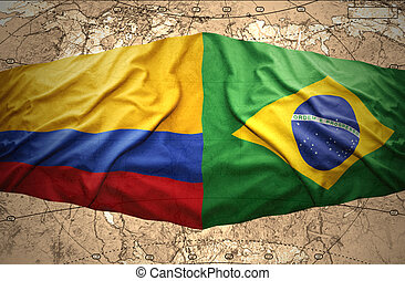 Brazil and Colombia - Waving Brazilian and Colombian flags...