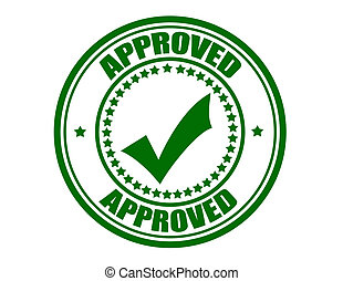 Approved - Stamp with word approved inside, vector...