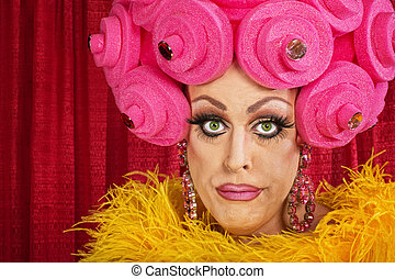 Doubting Drag Queen - Doubting drag queen with wig frowning...