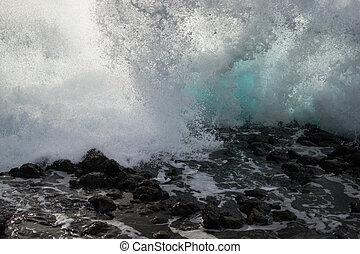 Waves of the ocean in Tenerife