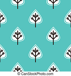 Leaves seamless pattern vector ( blue )