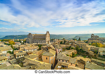 Orvieto medieval town and Duomo cathedral church landmark...