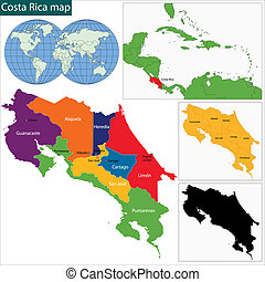 Costa Rica map - Map of the Republic of Costa Rica with the...