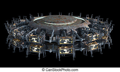 Science fiction spaceship - Fantasy 3D model of futuristic...