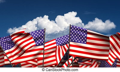 Waving American Flags seamless alpha channel