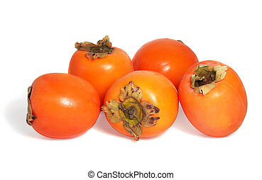 persimmons - Fresh spanish persimmons on white background.