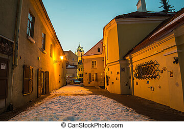 Street of Old Town in Vilnius, Lithuania