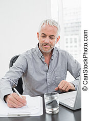 Businessman writing notes while using laptop at office desk...