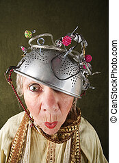 Crazy Woman - Crazy woman wearing a metal colander for a...