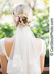 Rear view of bride in a veil in the countryside