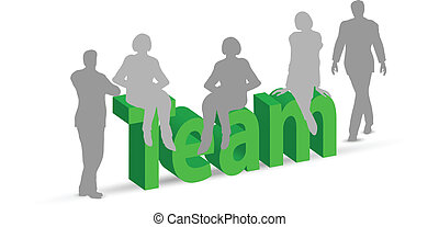 EPS 10 Vector of Team word in 3d with people