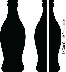stock vector bottle of coke in black over white background