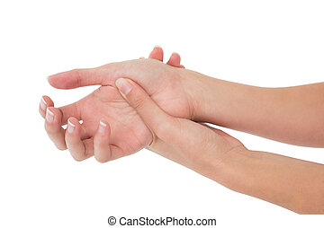 Close-up of a young woman touching her wrist on white...