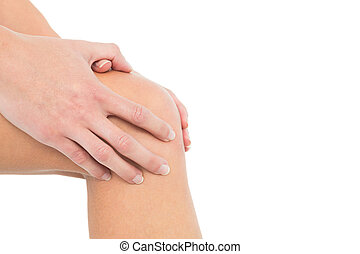 Close-up mid section of a woman with knee pain - Close-up...