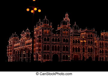Mysore palace lighting-XXXXIV - A beautiful lighting of a in...