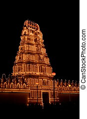 Mysore palace lighting-XXXXIII - A beautiful lighting of a...
