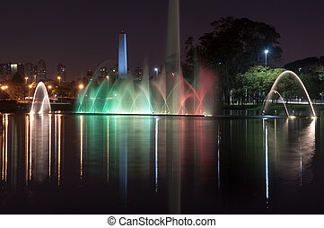 Ibirapuera park, sao paulo , Brazil - water fountain in the...