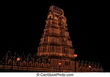 Mysore palace lighting-XXXXII - A beautiful lighting of a...