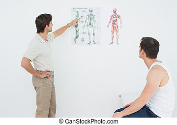 Physiotherapist showing patient something on skeleton chart...
