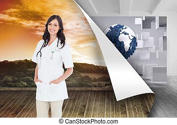 站立, 醫生, 合成物, 圖像, 窗口, 充滿信心, 當時, 女性, 前面, 微笑
