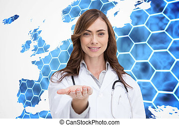 Composite image of smiling doctor presenting her hand