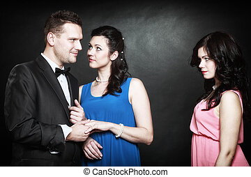 marital infidelity concept Love triangle passion hate -...
