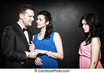 infidelidad, triángulo, concepto, marital, pasión, amor,...