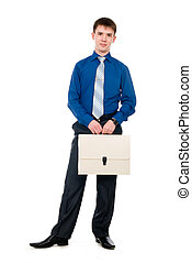 Business man with white briefcase standing on white background