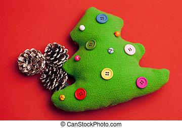 おもちゃ, 木, クリスマス, 背景, 赤
