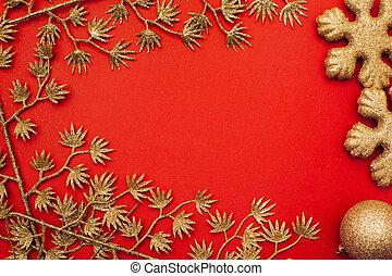 (christmas), 背景, 年, 新しい, ボーダー, 赤