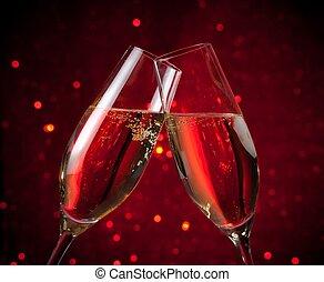 Licht, dunkel, bokeh, hintergrund, Paar, champagner, rotes,...