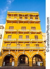 Yellow Colonial Architecture - Historic architecture of a...
