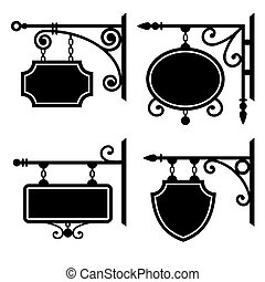 Set of retro graphic forged signboards. Vector.