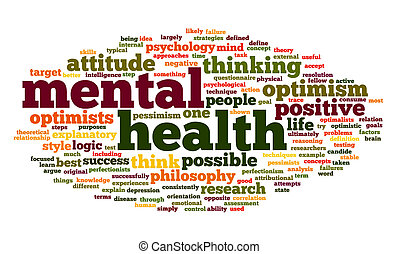 Mental health in word tag cloud - Mental health concept in...