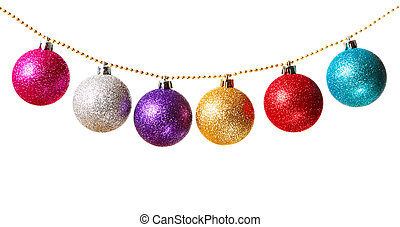 Garland - Gold beads garland with multicolored Christmas...