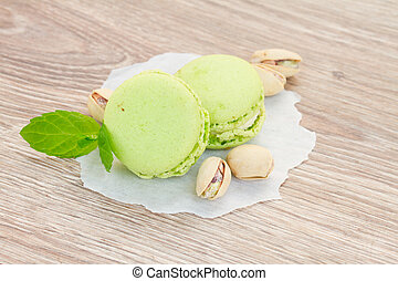 pistachio macaroons - pistachio macaroons with fresh nuts on...