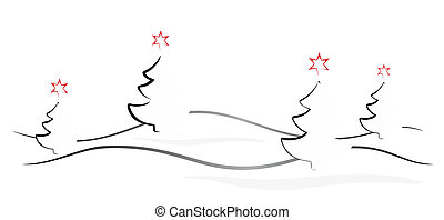 christmas banner - simplified illustration of a snowy winter...
