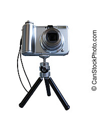 Gray digital photo camera on tripod isolated over white