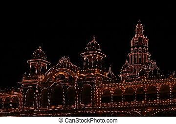 Mysore palace lighting-XXXII - A beautiful lighting of a...