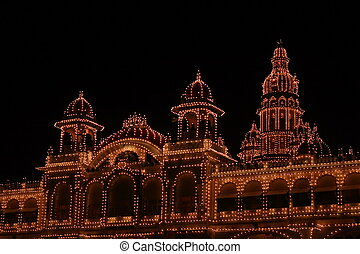 Mysore palace lighting-XXXI - A beautiful lighting of a...