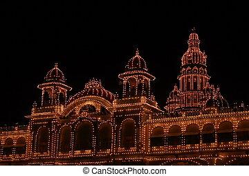 Mysore palace lighting-XXXI - A beautiful lighting of a...
