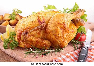 roasted chicken on board